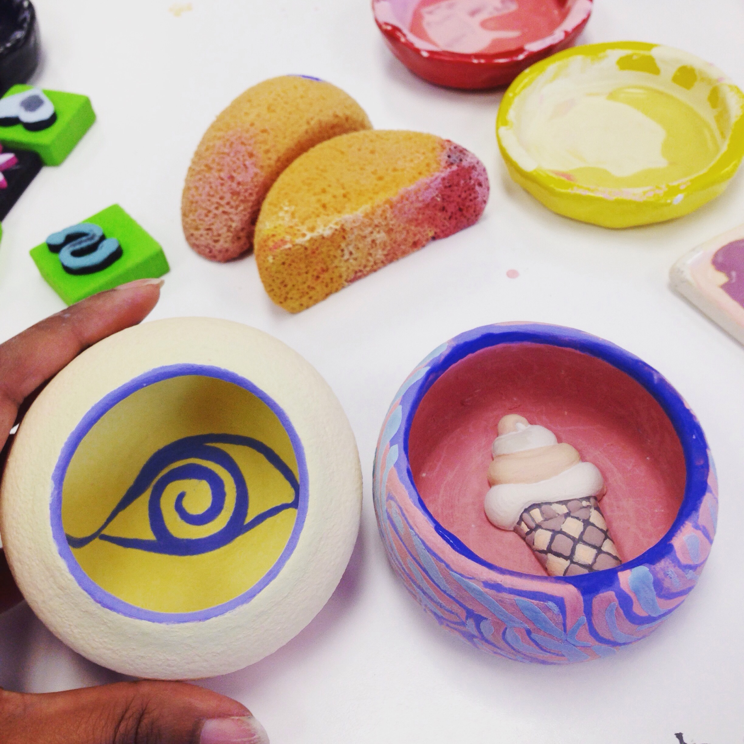Evil Eye & 70's Ice Cream Cone Pots (Go Figure!) By Shilpa Tripathi